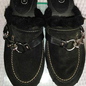 Coach Regina black suede clog mule fur trim 8B